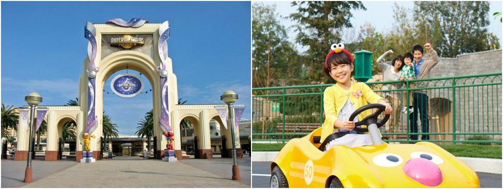 Pintu masuk USJ (kiri) dan atraksi di Sesame Street Fun World (kanan)