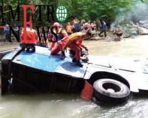 Bus Sriwijaya Terjatuh Tepat di Pusaran Sungai Lematang Pagar Alam